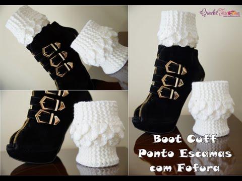 Boot Cuff Em Ponto Escamas Com Fofura Em Croche Versao