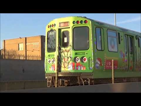 Action on the CTA Red Line Featuring the CTA Holiday Train Plus a Metra Rock Island Train 12/16/2017