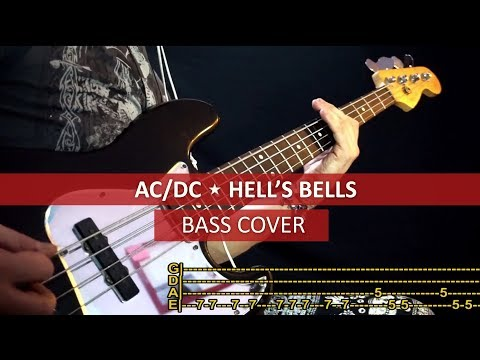 AC DC - Hell's bells / bass cover / playalong with TAB
