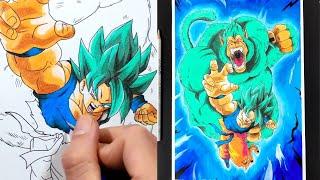 Vẽ hình Goku Super Saiyan Blue và khỉ đột màu xanh - Dragon Ball Z - How to draw Goku SS