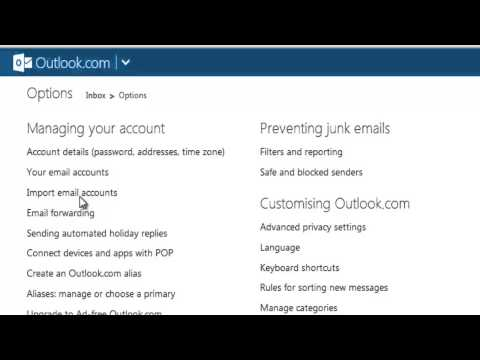 How to import your gmail, yahoo mail into outlook webmail?