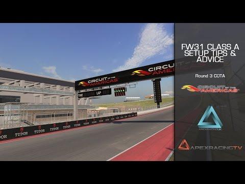 iRacing FW31 Season 3 2014 COTA Setup, Motec Advice & Line Work