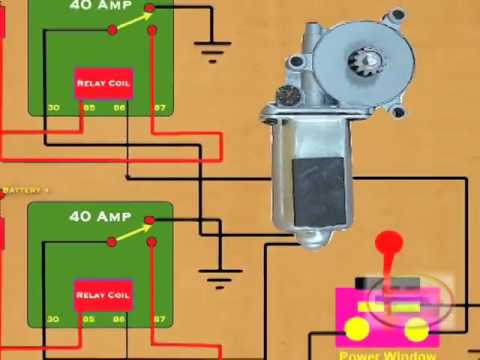 how to wire a power window relay youtube rh youtube com honda window motor wiring diagram audi tt window motor wiring diagram