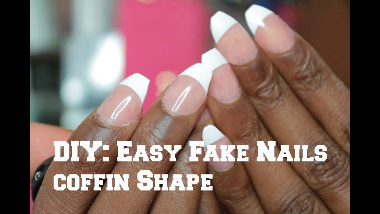 DIY: EASY FAKE Nails at HOME// Coffin Shape - YouTube