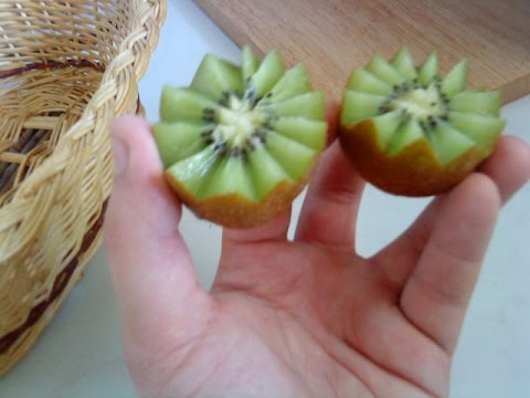 How to make kiwi flowers carving garnish food decoration for Art of food decoration