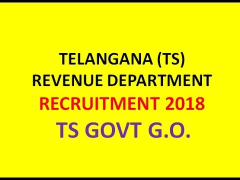 TS REVENUE DEPARTMENT RECRUITMENT 2018  |  16 DEPUTY INSPECTOR POSTS |  TS GOVT RELEASED G.O.