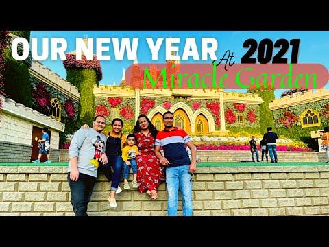 New Year 2021 Celebrations AT MIRACLE GARDEN  DUBAI | #teluguvlog