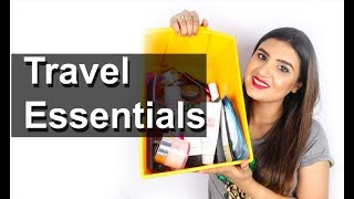 TRAVEL BEAUTY ESSENTIALS | What's in My Travel Makeup/Skin Care Bag | Deepesha Beauty