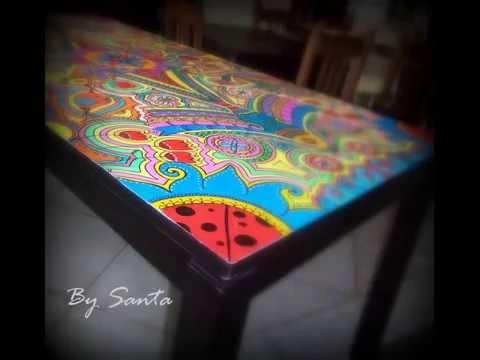 Decoraci n reciclado muebles pintados mesa youtube - Muebles de mimbre pintados ...