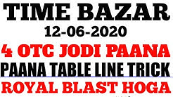 TIME BAZAR 12/06/2020 PAANA TABLE LINE TRICK KE SAATH 4 OPEN TO CLOSE GAME