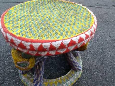 BAMILEKE BEADED STOOL AFRICAN ART TABLE MODERN DANISH beaded
