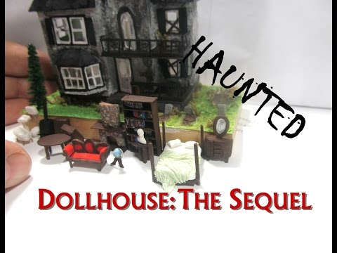 Mixed Media Halloween Haunted Dollhouse Miniature Furniture and Landscaping