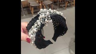 Женский обруч для волос с жемчужинами роскошный узлом кружевной в стиле барокко широкий