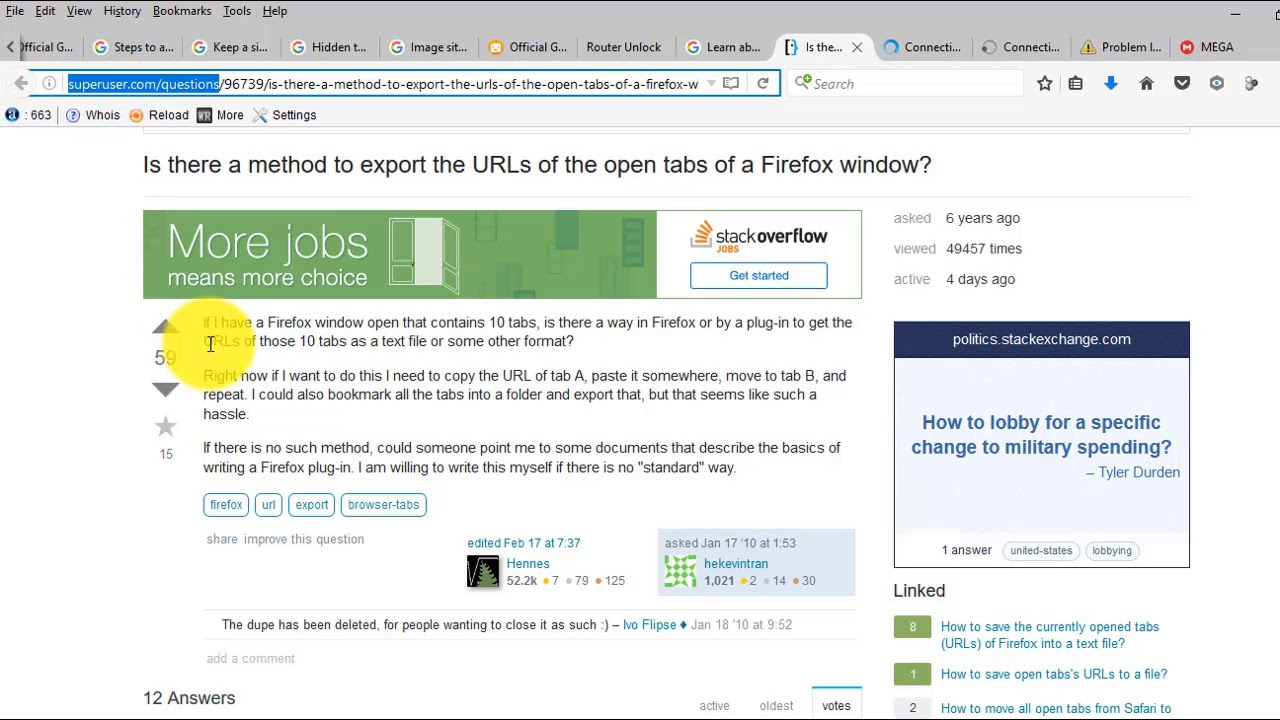 Copy Urls from all open tabs in Chrome and Firefox without any software