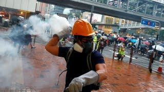 What is the lower limit of HK violent protestors?