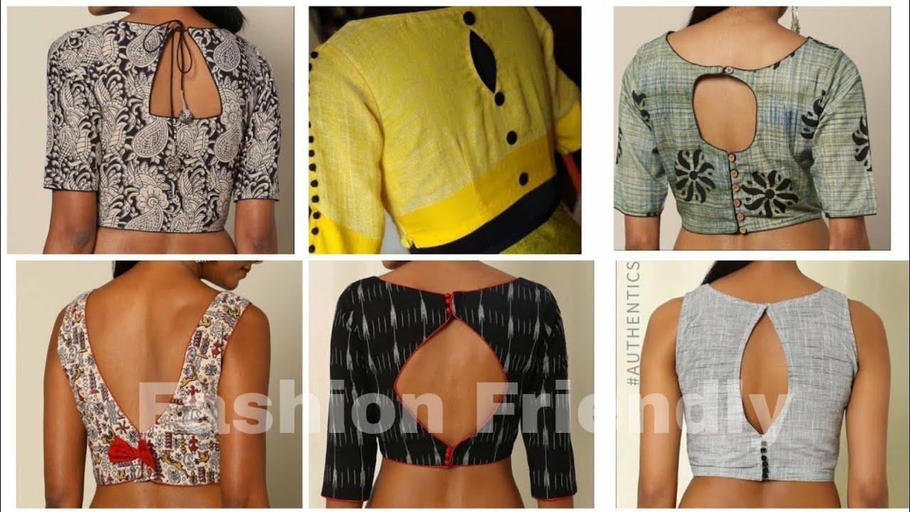 Simple Blouse Back Neck Designs For Cotton Saree Latest Blouse
