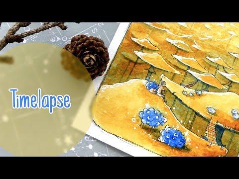 Mushroom Landscape – Watercolor Illustration Timelapse