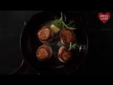 Svøbt mørbrad i bacon- og flødesovs