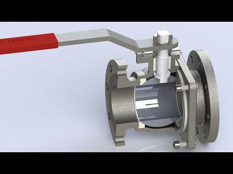 Floating Ball Valve- SolidWorks Animation (Exploded Assembly, Working Motion, & Part labels)