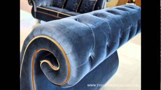 Luxury Living Room Sofa Set - 3 Piece - Blue - Sylvie