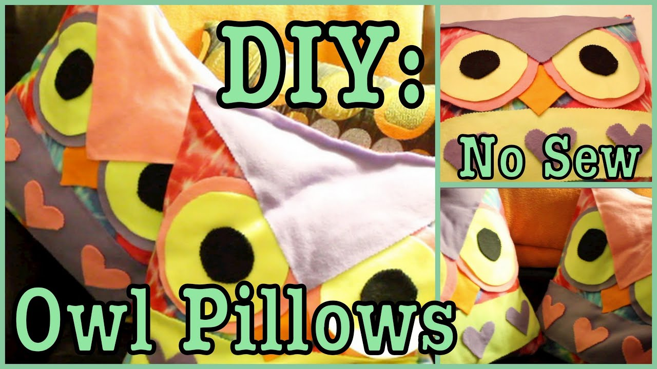 Diy No Sew Owl Pillow: DIY  OWL PILLOWS! *No Sew*   #Roomspiration   YouTube,