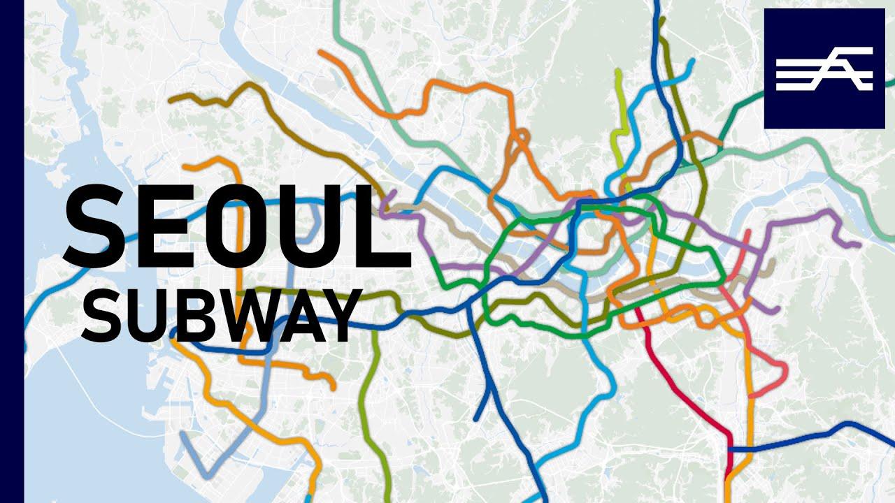 Seoul's Metropolitan Subway expansion animation 1974-2021