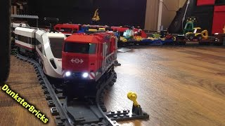 Modified LEGO Heavy-Haul Train, set 60098!  Pulling lots of cargo!  With GoPro Ride-Along