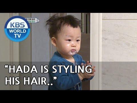 Hada is styling his hair with yogurt. LOL [The Return of Superman/2019.04.21]