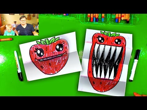 How to draw a Strawberry with Big teeth / Folding Surprise