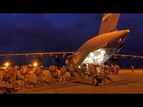 Military Personnel Load And Takeoff In C-17