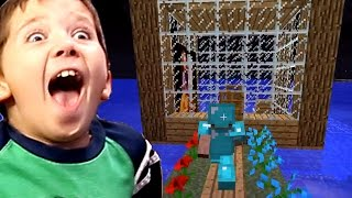 Minecraft with 8 Year Old Jacob - GLASS HOUSE ON WATER!