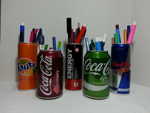 How to make pencil holder out of soda can-DIY