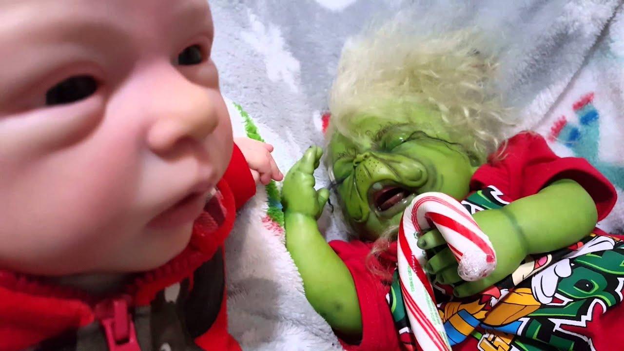 Reborn Molly Meets Baby Grinch - YouTube