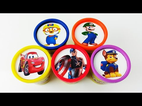 Thumbnail: Learn Colors for Kids Play Doh Cups Superhero Mcqueen Paw Patrol Finger Family Nursery Rhymes Songs
