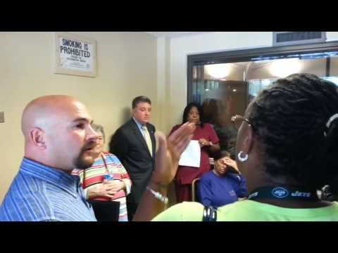 Citizens of Roosevelt confront NY Demo's Owner and Attorney