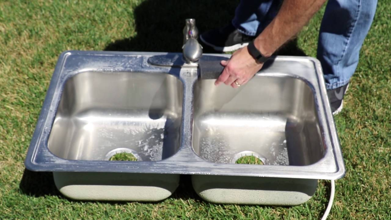 Clean a Stainless Steel Sink and Remove Scratches - YouTube