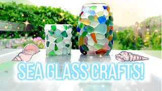 Sea glass crafts. We make colourful sea glass candle jars with our finds!