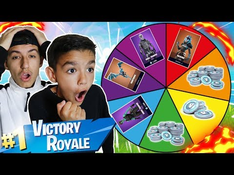 1 Kill = 1 Free Spin For Rare Fortnite Skins And V Bucks For My 10 Year Old Little Brother!