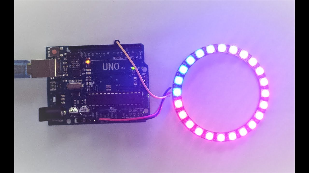 Using an 24 Bit RGB Neopixel LCD Ring with Arduino