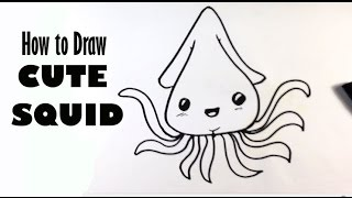 How to Draw a Squid (Cute) - Easy Pictures to Draw