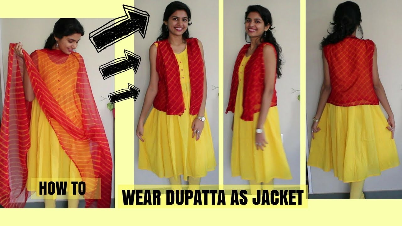 Image result for How to wear dupatta as jacket