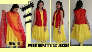 How To Wear Dupatta As Jacket | Easy DIY Using Safety Pins| PART 1 thumbnail