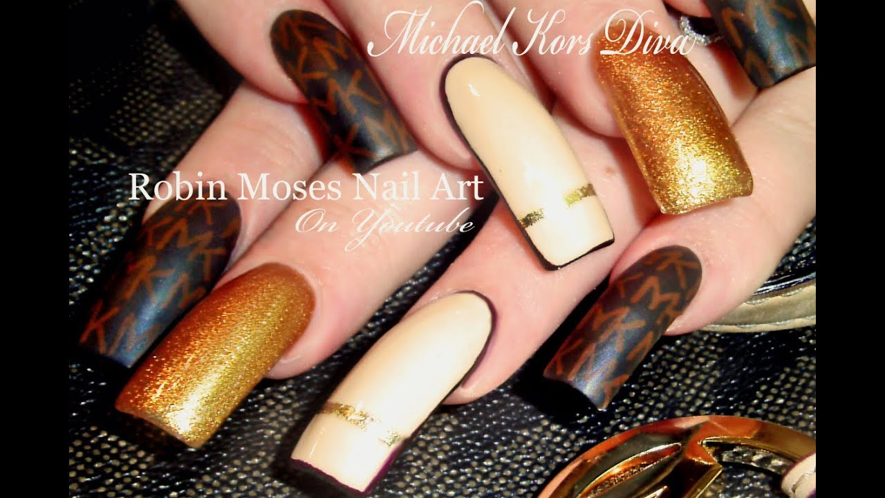 Michael Kors Nails | Designer Nail Art | DIVA Long Nail tutorial ...