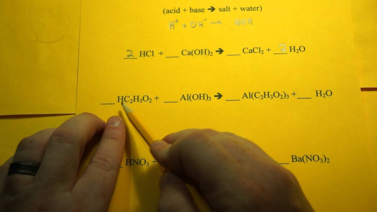 Balancing Chemical Equations Neutralization Reactions Youtube