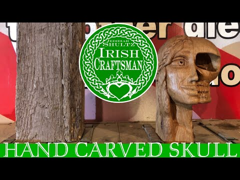 Hand Carved Skull/ Woman's Face from Oak // woodworking hand carving