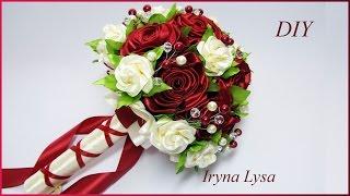 Свадебный букет-дублер с розами🌹 (по МК Avonessa Fabric Flowers)/Wedding Bouquet/Tutorial