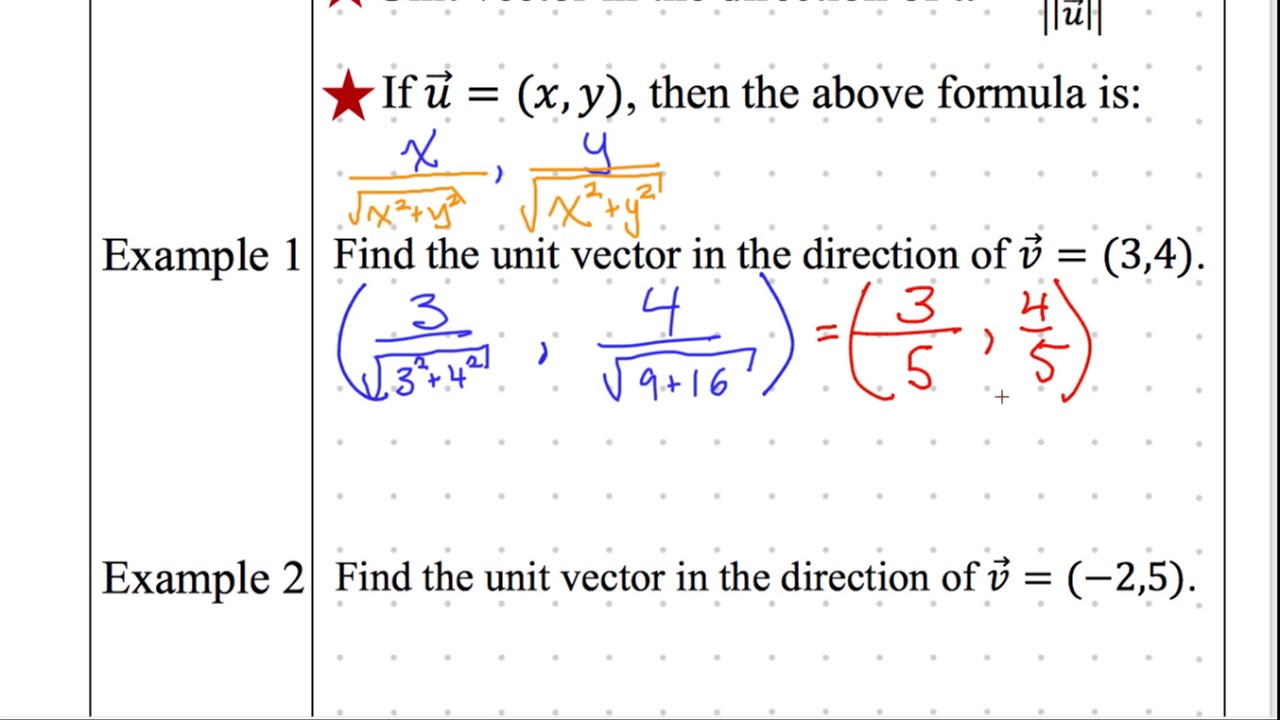 Precalculus notes 3-6 Unit Vectors