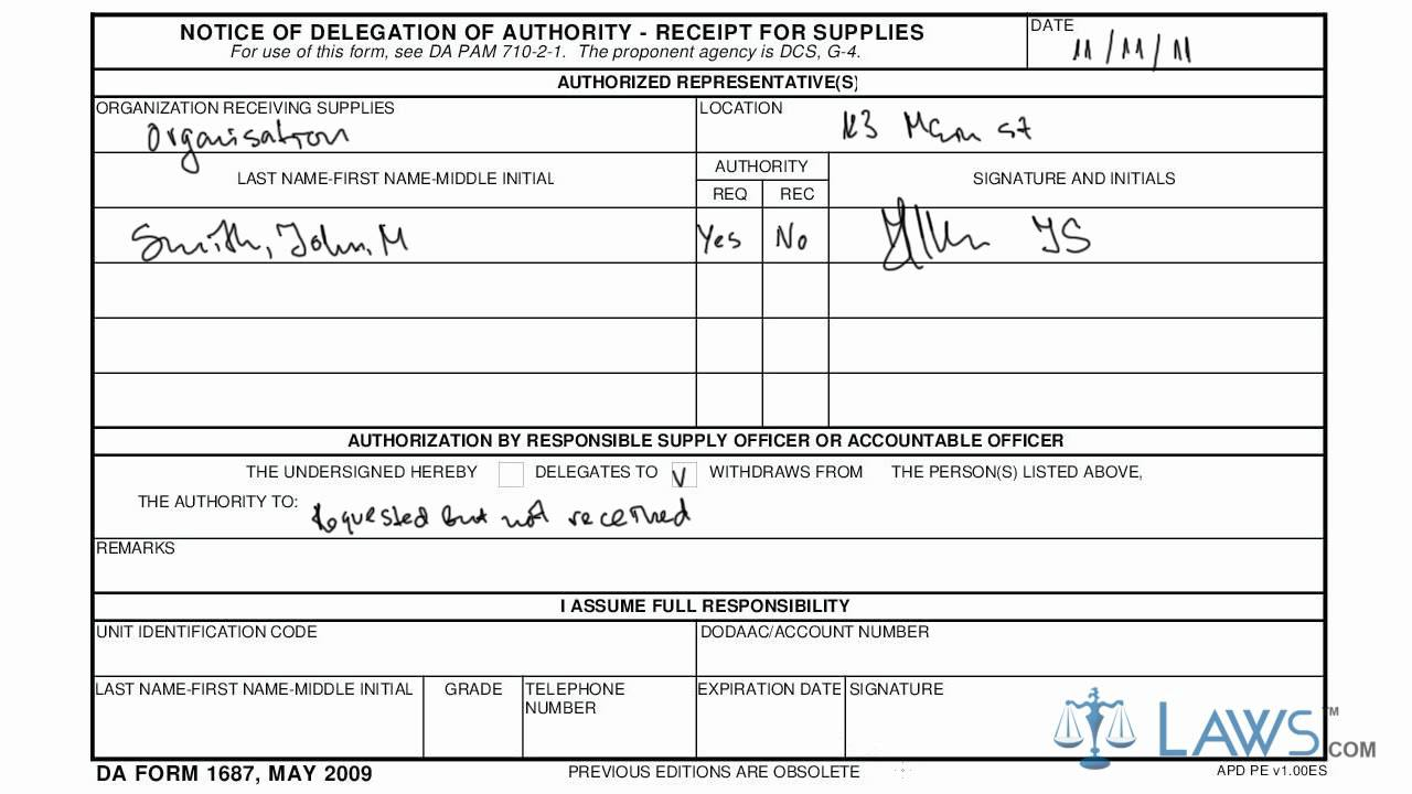 Example Filling Out Da Form 3078