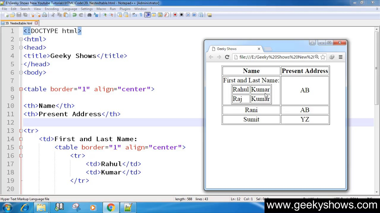 52 Nested Table In Html Hindi