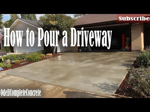 How to Pour a Concrete Driveway With Diamond Saw Cut Pattern - DIY